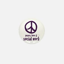 Peace, Love, & Social Work Mini Button 10 pk