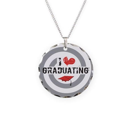I heart Graduating Necklace Circle Charm