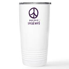 Peace, Love, & Social Work Cera Travel Mug