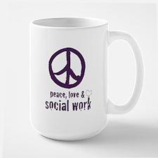 Peace, Love, & Social Work Large Mug