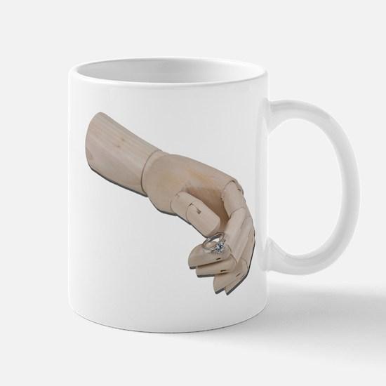 Wooden Hand Offer Engagement Mug