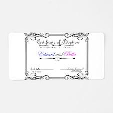 EdwardBellaAdoptCertificate Aluminum License Plate
