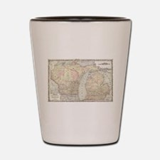 Vintage Map of Michigan & Wisconsin (18 Shot Glass