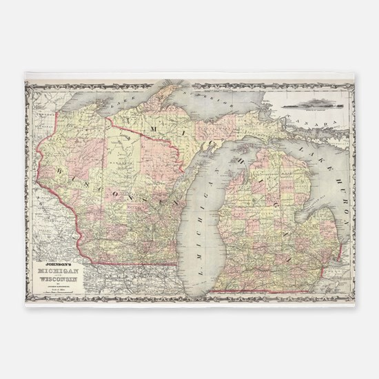 Vintage Map of Michigan & Wisconsin 5'x7'Area Rug