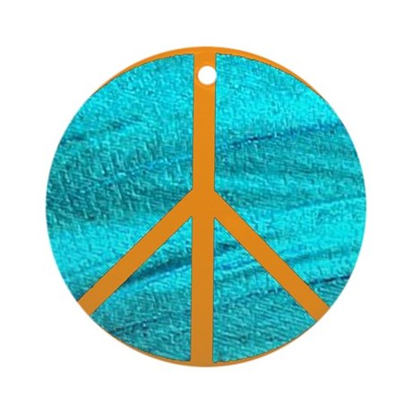 Orange Peace Symbol Ornament (Round)