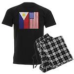 Philippine Flag & US Flag Men's Dark Pajamas