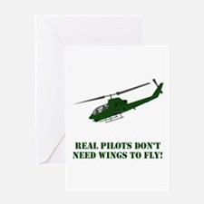 Helicopter Wings Green Greeting Cards