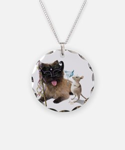 Cairn Terrier with Rat Necklace Circle Charm