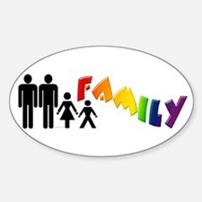 Gay Pride Family Oval Decal