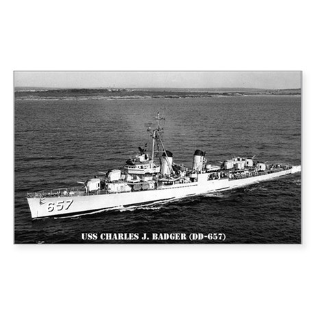 USS CHARLES J. BADGER Sticker (Rectangle)