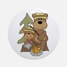 Bears Toasting Marshmallows Ornament (Round)