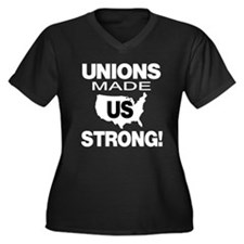 UNIONS: Women's Plus Size V-Neck Dark T-Shirt