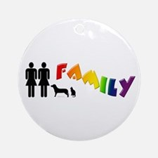 Lesbian Family Pride, Pets Ornament (Round)
