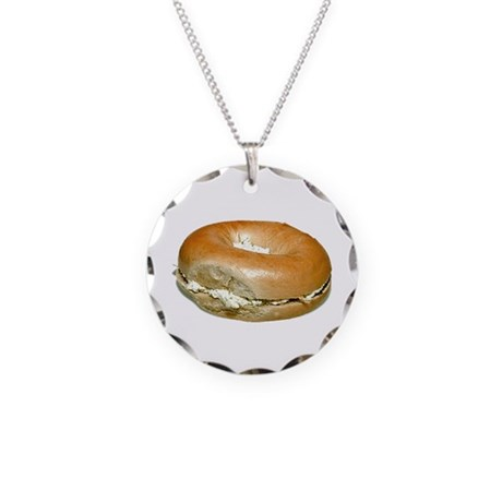 Bagel and Cream Cheese Necklace Circle Charm