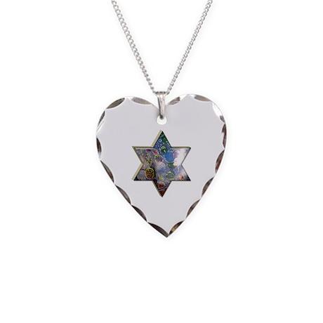 Jewish Star Necklace Heart Charm