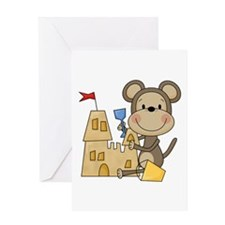 Monkey Builds Sand Castle Greeting Card