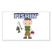 Stick Figure Boy Fishin' Decal