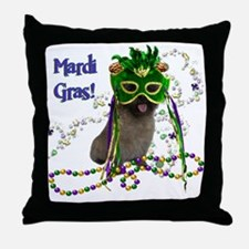 Mardi Gras Cairn Terrier Throw Pillow