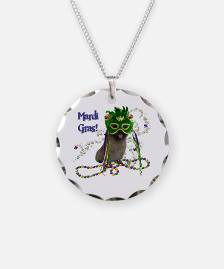 Mardi Gras Cairn Terrier Necklace Circle Charm
