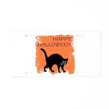 Halloween Black Cat Aluminum License Plate