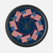 USA Flag Large Wall Clock