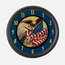 Patriotic Bald Eagle Large Wall Clock