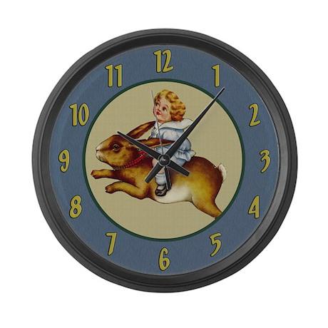 Bunny Rabbit Rides Large Wall Clock