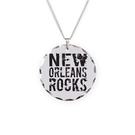 New Orleans Rocks Necklace Circle Charm