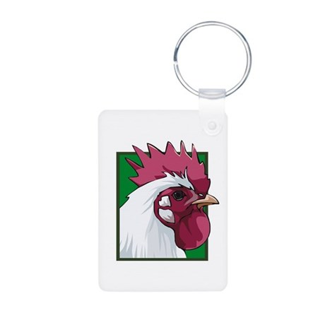 White Rooster Aluminum Photo Keychain