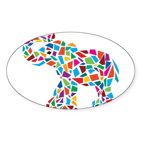 Abstract Elephant Sticker (Oval)