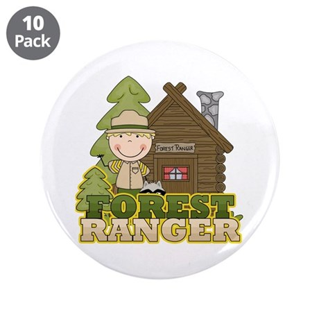 "Male Forest Ranger 3.5"" Button (10 pack)"