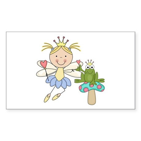 Blond Frog Princess Sticker (Rectangle)