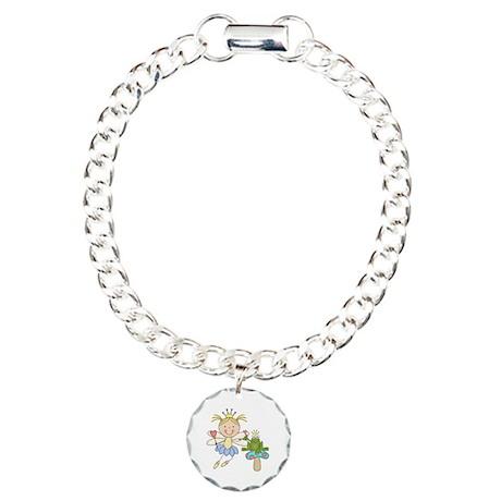 Blond Frog Princess Charm Bracelet, One Charm