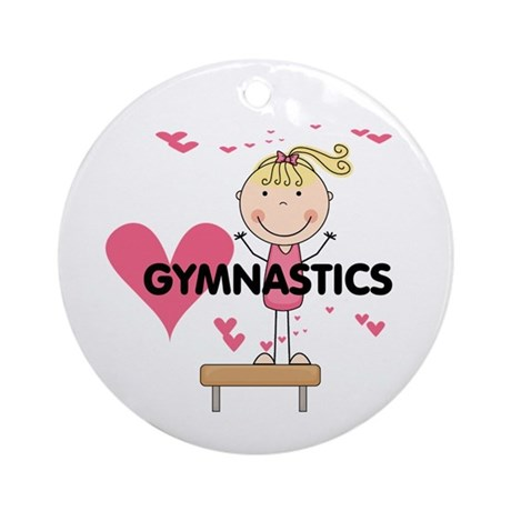 Blond Girl Gymnast Ornament (Round)