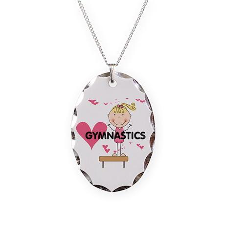 Blond Girl Gymnast Necklace Oval Charm