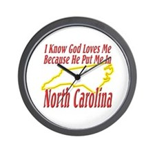 God Loves Me in NC Wall Clock