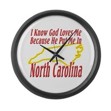 God Loves Me in NC Large Wall Clock