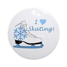 I Heart Skating Ice Skate Ornament (Round)