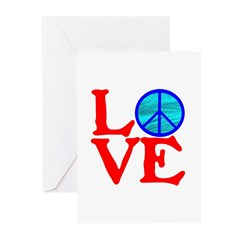 LOVE with PEACE SYMBOL Greeting Cards (Pk of 20)