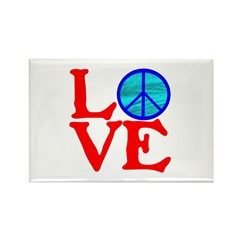 LOVE with PEACE SYMBOL Rectangle Magnet (100 pack)