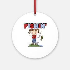 Stick Figure Girl Fishin' Ornament (Round)