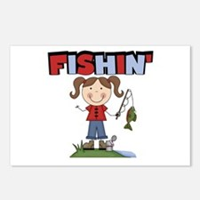 Stick Figure Girl Fishin' Postcards (Package of 8)