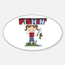 Stick Figure Girl Fishin' Decal