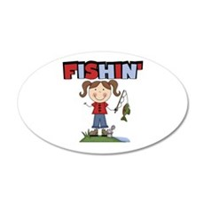 Stick Figure Girl Fishin' 22x14 Oval Wall Peel