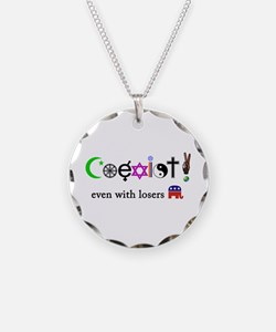 Co-Exist with Republicans/Peace Sign Necklace