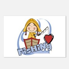 Girl Loves Fishing Postcards (Package of 8)