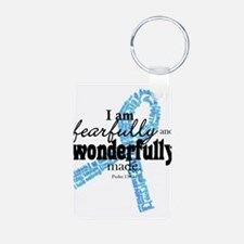 Fearfully made Blue ribbon Aluminum Photo Keychain