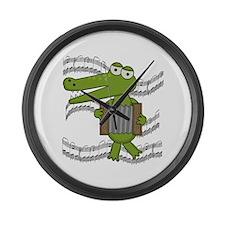 Crocodile With Accordion Large Wall Clock
