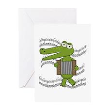 Crocodile With Accordion Greeting Card
