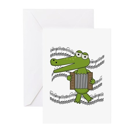 Crocodile With Accordion Greeting Cards (Pk of 10)
